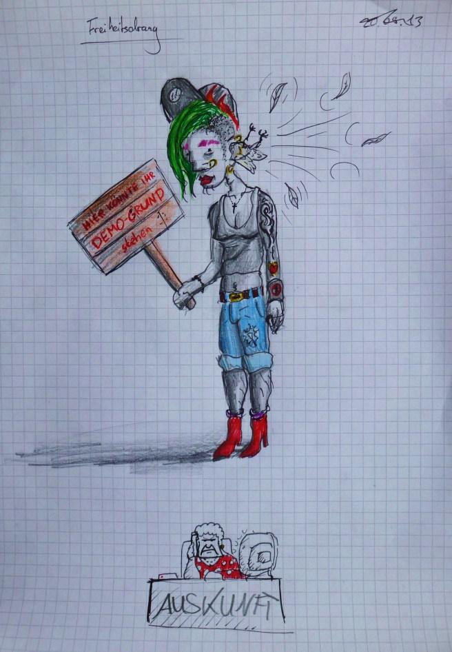 """Michael  - Studienziel Kunsterziehung. Illustration: """"Freiheitsdrang"""" (Der Berufsprotestler) und """"Auskunftsbüro"""""""