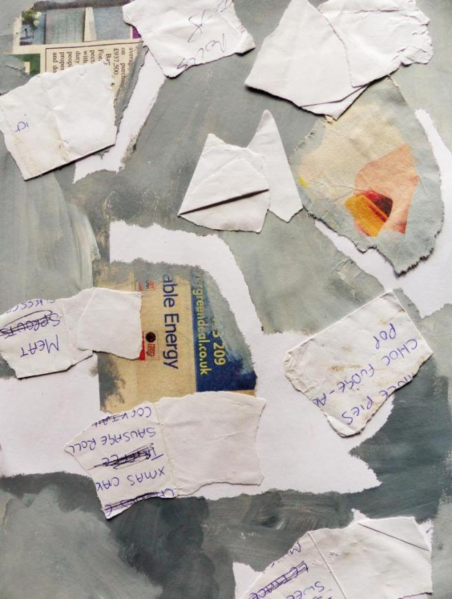 Fundstück: Ein Einkaufszettel. Collage: Elodie Cruz